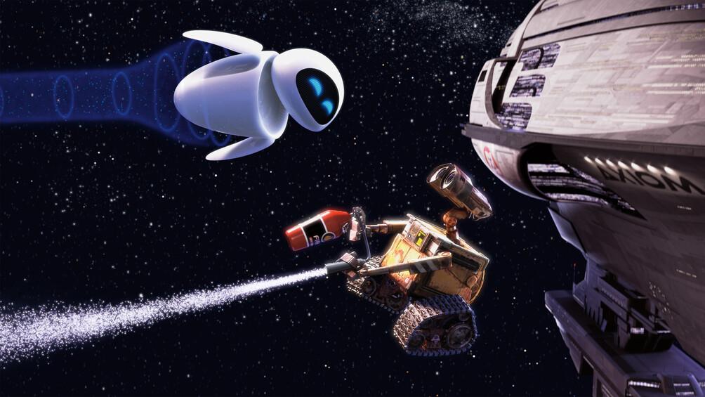 Die beiden Roboter Wall-E und Eve sind im Weltraum dargestellt.