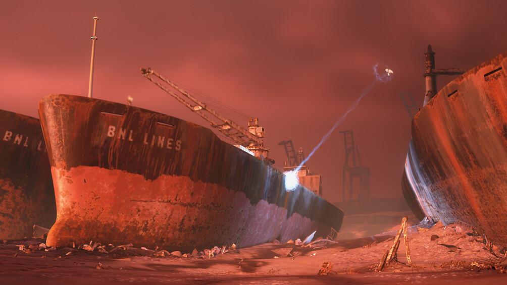 In einem nächtlichen Hafenszenarium sind große Dampfer zu sehen, es liegt viel Müll im Meer, die Szenerie wirkt bedrohlich.