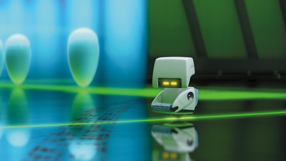 Ein kleiner weißer Roboter ist abgebildet.